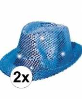 2x pailletten hoedjes blauw met led licht trend