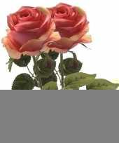 2x roze roos kunstbloem simone 45 cm trend