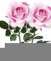 2x roze rozen carol kunstbloemen 37 cm trend