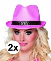 2x roze toppers trilby hoeden voor volwassenen trend