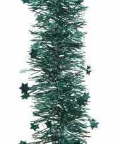 2x smaragd groene kerstversiering folie slinger met ster 270 cm trend