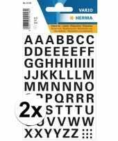 2x stickervellen letters zwart 10mm 65x trend