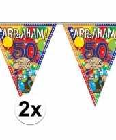 2x stuks abraham 50 jaar versiering vlaggenlijnen 10 meter trend