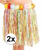2x stuks hawaii rokjes gekleurd 45 cm voor dames trend