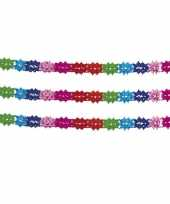 2x stuks slingers in regenboog kleuren 6 m trend
