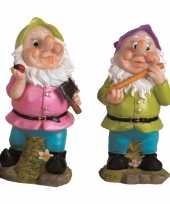2x tuinkabouters 30 cm groene paarse mutsen trend