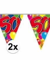2x vlaggetjes lijn plastic 50 jaar 10 meter trend