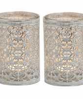 2x waxinelicht theelicht houders zilver antiek 12 cm trend