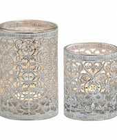 2x waxinelicht theelicht houders zilver antiek 7 en 12 cm trend