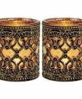 2x waxinelicht theelicht houders zwart goud antiek 10 cm trend