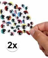 2x wiebel oogjes met gekleurde oogleden 30 stuks trend