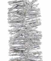 2x zilveren kerstversiering folie slinger met sneeuw 200 cm trend
