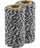 2x zwart wit bakkerstouw 50 meter hobby materiaal trend