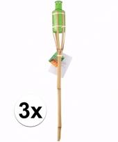 3 bamboe tuinfakkels groen 60 cm trend