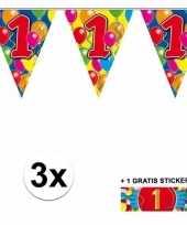 3 gekleurde slinger s 1 jaar met sticker trend