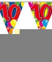 3 gekleurde slingers 10 jaar met sticker trend