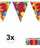 3 gekleurde slingers 3 jaar met sticker trend