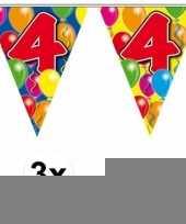 3 gekleurde slingers 4 jaar met sticker trend