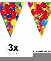 3 gekleurde slingers 5 jaar met sticker trend