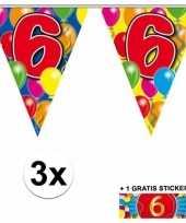 3 gekleurde slingers 6 jaar met sticker trend