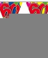 3 gekleurde slingers 60 jaar met sticker trend