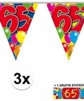 3 gekleurde slingers 65 jaar met sticker trend
