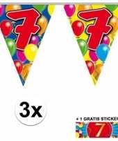 3 gekleurde slingers 7 jaar met sticker trend