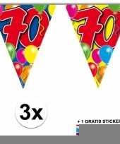 3 gekleurde slingers 70 jaar met sticker trend