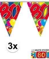 3 gekleurde slingers 80 jaar met sticker trend