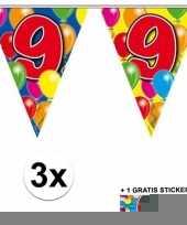 3 gekleurde slingers 9 jaar met sticker trend