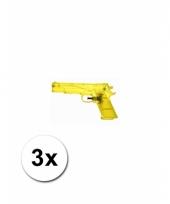 3 gele kleine waterpistooltjes 20 cm trend