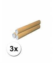 3 hobby materiaal kokers van karton 43x6 cm trend