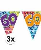 3 mini vlaggenlijn slinger verjaardag versiering 60 jaar trend