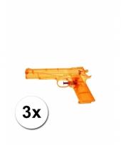 3 oranje kleine waterpistooltjes 20 cm trend