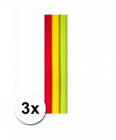 3 rollen kado inpakpapier rood geel en groen trend