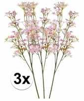 3 x roze kroonkruid kunstbloemen tak 68 cm trend
