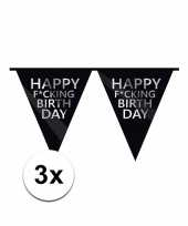 3 x zwarte fucking birthday vlaggenlijn brutaal trend