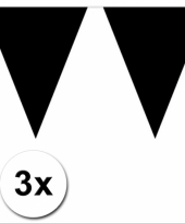 3 zwarte plastic vlaggenlijnen trend