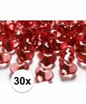 30 hartjes steentjes rood 2 cm trend