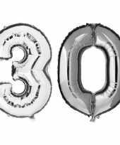 30 jaar zilveren folie ballonnen 88 cm leeftijd cijfer trend