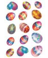 30x gekleurde paaseieren stickers met glitters trend