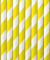 30x papieren rietjes geel wit gestreept trend
