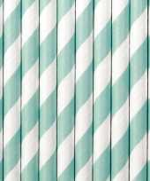 30x papieren rietjes mintgroen wit gestreept trend