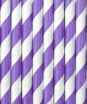 30x papieren rietjes paars wit gestreept trend