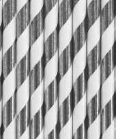 30x papieren rietjes zilver wit gestreept trend