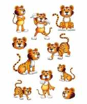 30x tijgers dieren stickers met wiebeloogjes trend