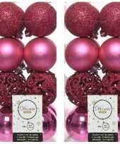 32x fuchsia roze kerstballen 6 cm kunststof mix trend