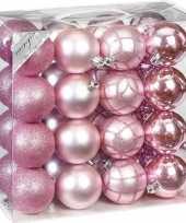 32x mix roze kunststof kerstballen 7 cm mat glans trend