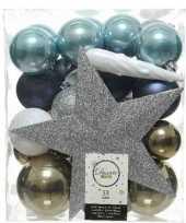 33x blauw wit bruine kerstballen met piek 5 6 8 cm kunststof trend