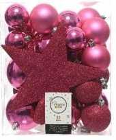 33x fuchsia roze kerstballen met ster piek 5 6 8 cm kunststof trend